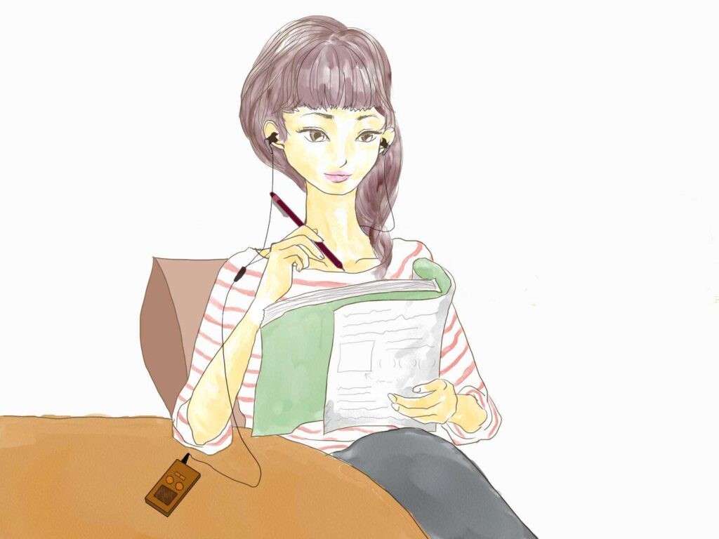スキマ時間に勉強する女性